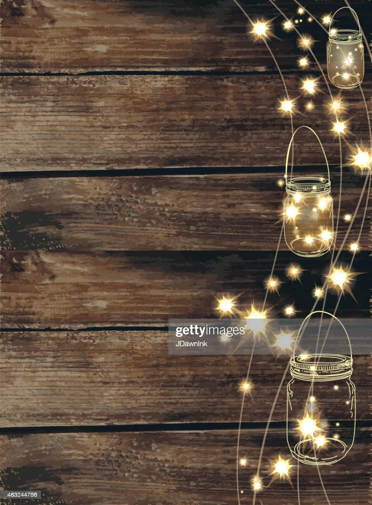 Country And Western Invitation Design Template Jar And String Lights Vector Art Getty Images