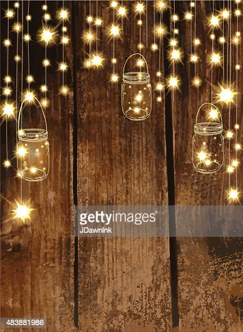 Wooden Background With Jar And String Lights Vector Art Getty Images