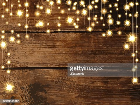 Hd Design String Lights : Wooden Background With String Lights Vector Art Getty Images