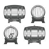 Barrel on a white background, vector illustration for menu, label and poster