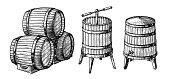 Wooden barrels and press. Vector sketch illustration