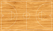 Wooden basketball court. Vector illustration  File contains transparency effects. EPS file version 10