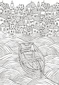 Wooden boat floating on the waves. Seaside, homes, boat, sea, art background. Hand-drawn doodle vector. Black and white pattern for adult coloring book.