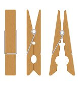 wooden clothespins vector illustration isolated on white background