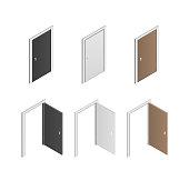 Isometric white, black and wooden door vector big set