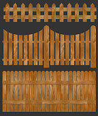 Wooden fence, seamless sections. Isolated vector illustration