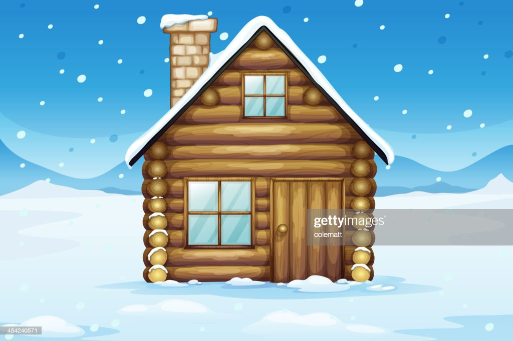 wooden house in a snowy season : Vector Art