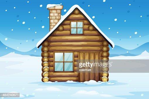 wooden house in a snowy season : Vector Art