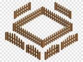 Wooden isometric fences and gates. Vector template. Design elements isolated on checkered background.