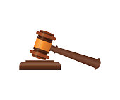 Wooden judge gavel and soundboard isometric 3D element. Law and judgment, auctioneer tool vector illustration.