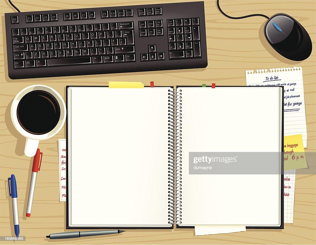 Wooden office desk from above with notepad vector art for Schreibtisch von oben