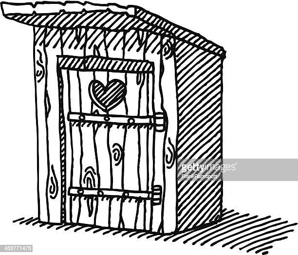 Wooden Outhouse Heart Drawing