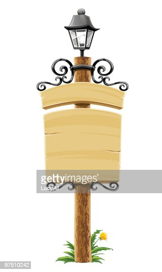 wooden post with signboard, lantern and forged decoration : Vector Art