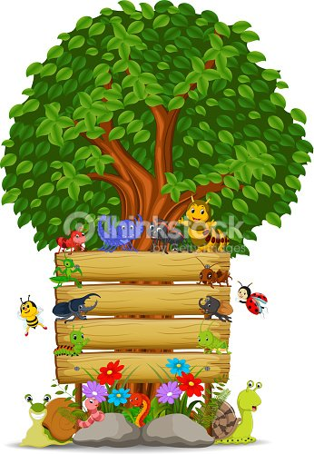 wooden sign template with many insect vector art thinkstock