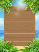 Wooden sign and tropical leaves on a background of a sea beach. Background for an invitation to a summer party or an advertising poster for discounts. A design template for the vacation offer.
