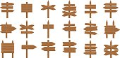 Wooden signs set on white background. Arrows, boards and planks. Concept of showing direction, way or information.