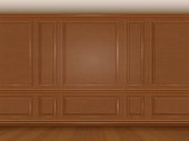 The wall decorated with wooden panels. Fragment of the classic luxurious interior of the office or living room. Architectural realistic vector background.