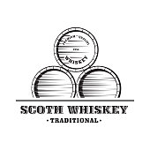 Wooden Whiskey Barrel. Hand Drawn Vector Illustration
