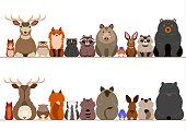 various woodland animals border set.