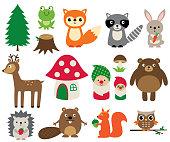 Woodland animals, isolated set