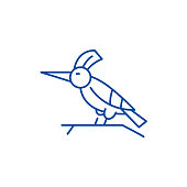 Woodpecker line concept icon. Woodpecker flat  vector website sign, outline symbol, illustration.