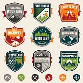 Set of vintage woods camp badges and travel emblems.