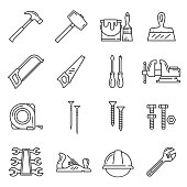 Carpentry and woodwork repair or construction tools. Vector icons of hammer mallet, paint brush or plastering spatula and saw, screwdriver or vise and tape-measure, nails, screws and bolts