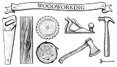 Vector illustration of a woodworking objects set: hand saw, circular blade, wooden slab, board, tree cross section, planer tool, hammer, ax, nail. Carpentry tools in hand drawn vintage engraving style