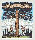 Two of the lumberjack chopped the tree with axes. Illustration made in graphic style and painted in color.