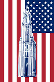 Famous neo-gothic wonder of New York - Woolworth building drawn in a simple sketch style. Isolated contour on USA national flag background. EPS8 vector illustration.