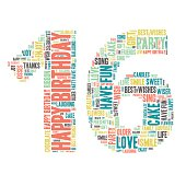 Word Cloud - Happy Birthday Celebration colorful wordclouds about celebrating your 16th birthday ;) blue, green, yellow, pink, grey