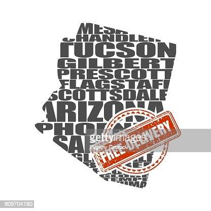 Arizona State Map Free.Word Cloud Map Of Arizona State Vector Art Thinkstock