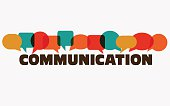 Vector illustration of a communication concept. The word 'communication' with colorful dialog speech bubbles