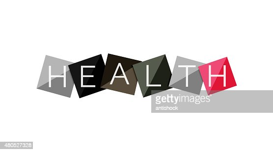 Word concept on color geometric shapes - health : Vector Art
