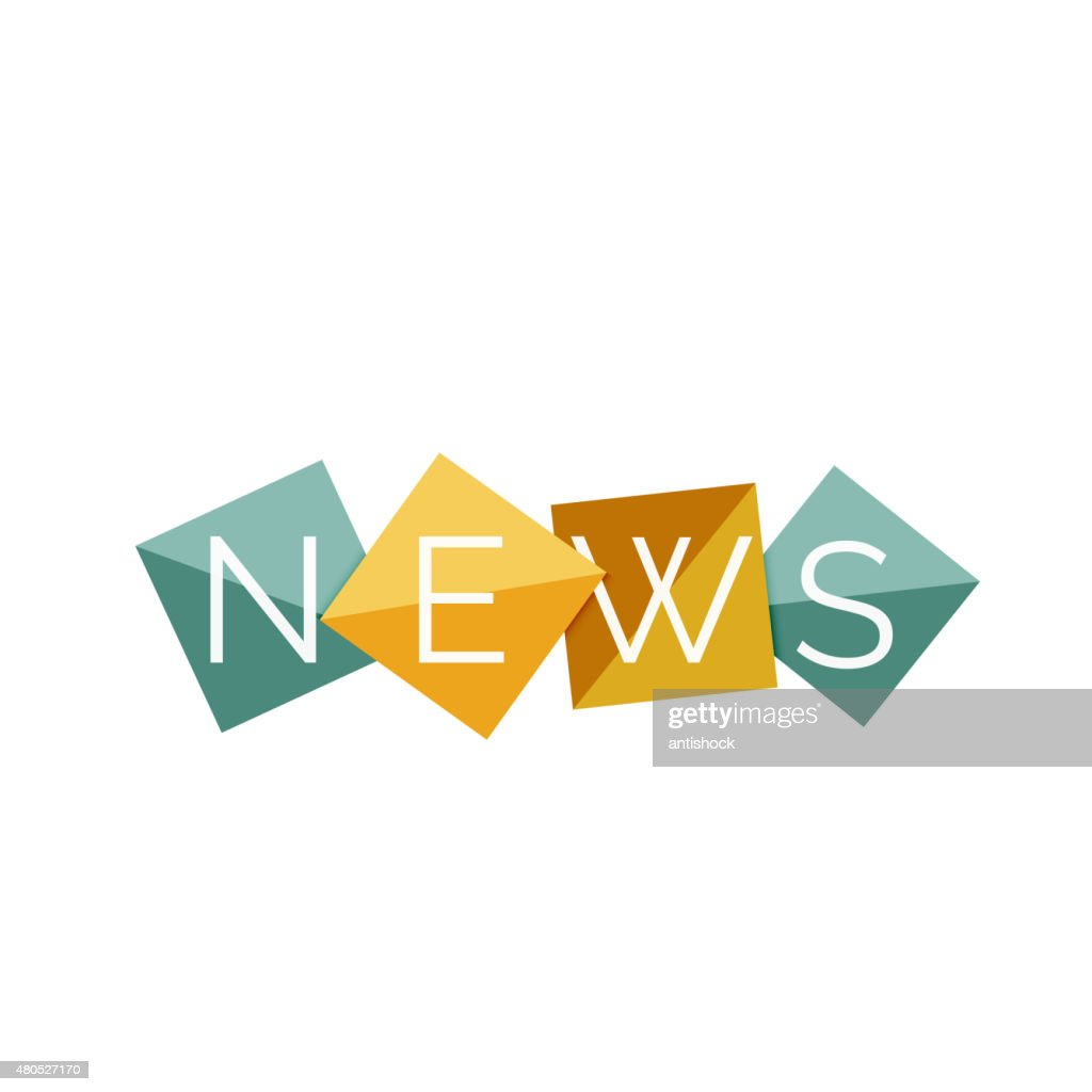 Word concept on color geometric shapes - news : Vector Art