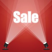 word sale. floodlighting. Spotlight on a red background. stock vector image