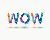 Word WOW. Rainbow splash paint sign isolated on white background