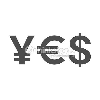 Word Yes Of Currency Symbols Yen Euro Dollar Vector Art Thinkstock