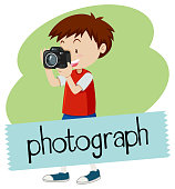 Wordcard for photograph with boy taking picture with camera illustration