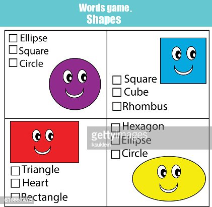 Words test educational game for children. Learning shapes : Vector Art