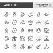 30 thin line icons associated with employment and work ethic with symbols such as teamwork, morality, proficiency, optimism and empathy are included in this set. 48x48 pixel perfect vector icon with e