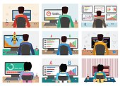 Set of men and women working on internet using computer where update software. They drinking coffee. Vector concept work at home, freelance, update process in flat style. Back view