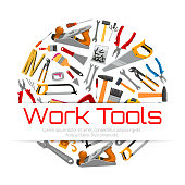 Repair, carpentry work tools poster. Vector working instruments hammer and saw, pliers nippers, plaster trowel and paint brush roll, tape measure ruler, spanner wrench and screwdriver plane and mallet