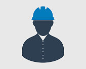 Worker Icon. Male symbol with helmet on head.