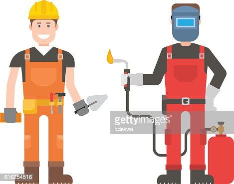 Workers man vector set. : Vector Art