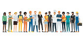 Multiethnic group of workers standing together, employment concept