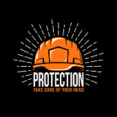 working helmet, sunburst and the word protection on a black background. Vector illustration.