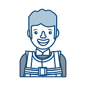 flat line colored working man over white background  vector illustration
