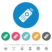 Working remote control flat white icons on round color backgrounds. 6 bonus icons included.