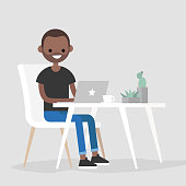 Working space. Young black character typing on a laptop / flat editable vector illustration, clip art